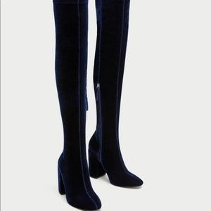 ZARA Size 9 Over Knee Velvet Sock Boots